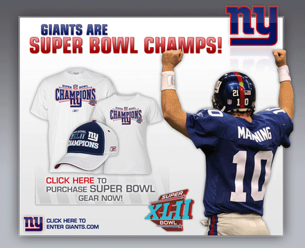 Giants Super Bowl Champion splash page