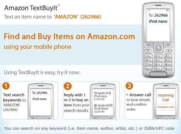 Amazon's TextBuyIt application