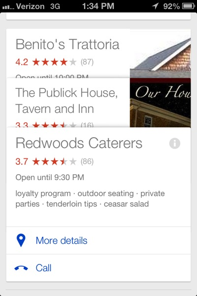 Google Now local restaurant suggestions