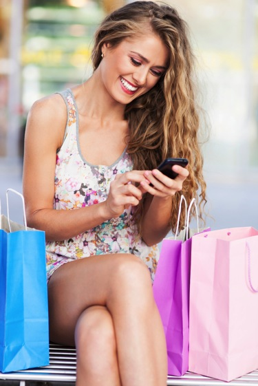 Woman shopping mobile customer