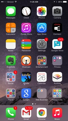 Iphone search app homescreen