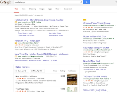 Google metasearch results
