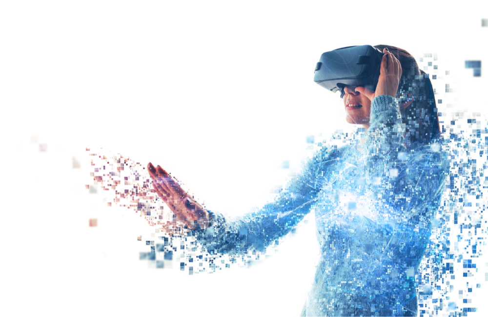 Welcome To Digital Future: Woman Interacting With VR